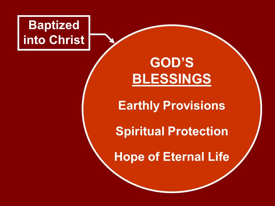 GOD'S BLESSINGS Baptized into Christ Earthly Provisions