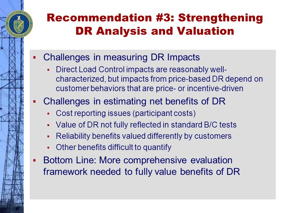 Recommendation #3: Strengthening DR Analysis and Valuation