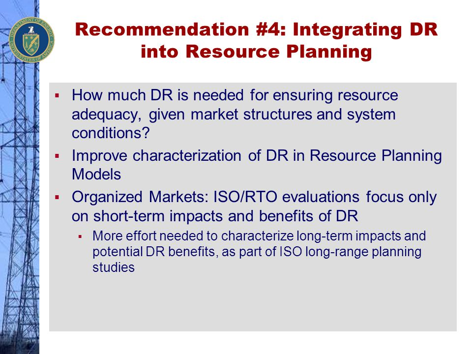 Recommendation #4: Integrating DR into Resource Planning