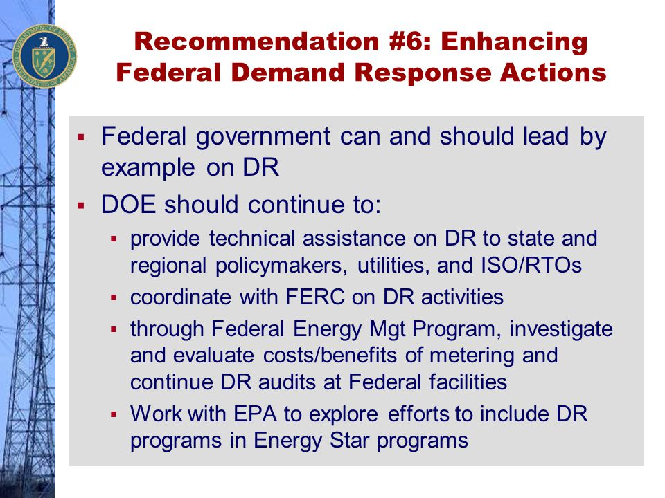 Recommendation #6: Enhancing Federal Demand Response Actions