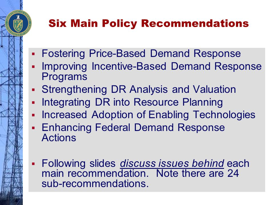 Six Main Policy Recommendations