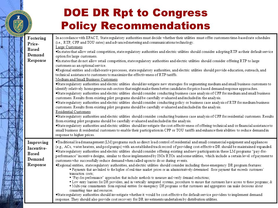 DOE DR Rpt to Congress Policy Recommendations