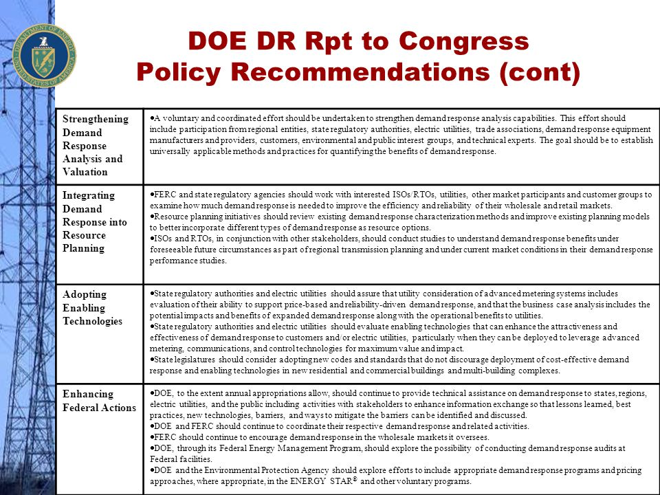 DOE DR Rpt to Congress Policy Recommendations (cont)