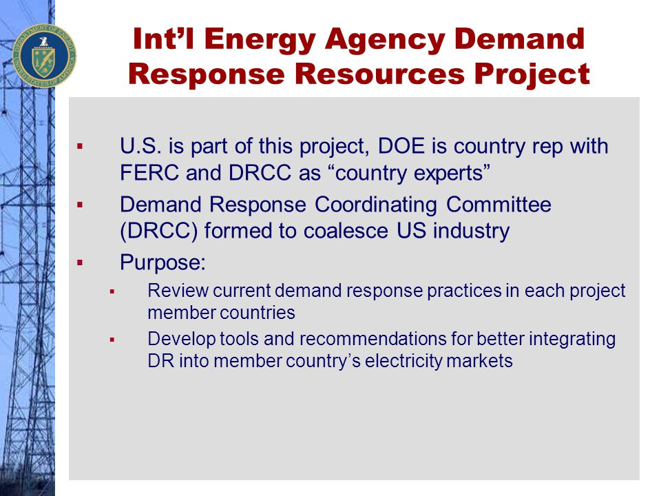 Int'l Energy Agency Demand Response Resources Project
