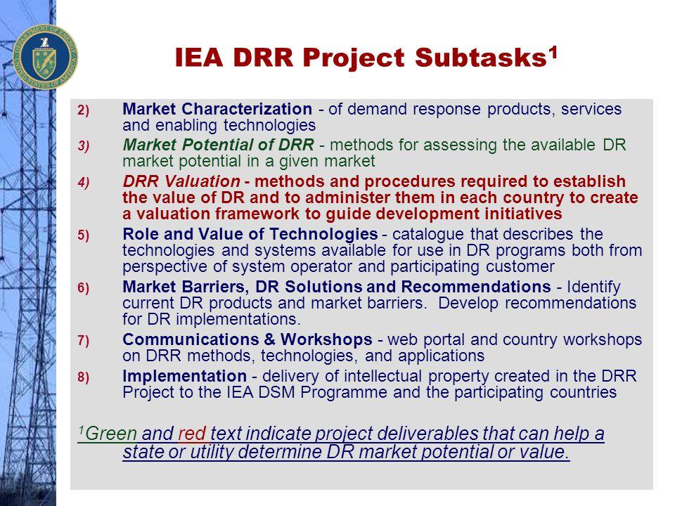 IEA DRR Project Subtasks1