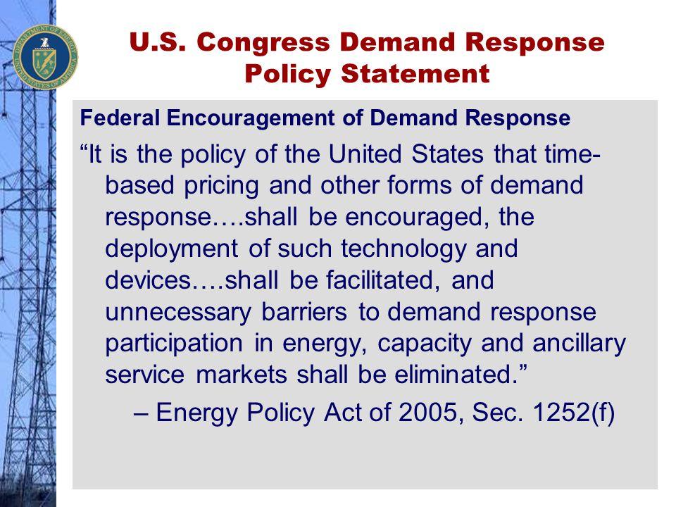 U.S. Congress Demand Response Policy Statement