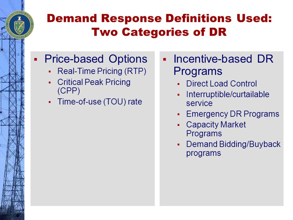 Demand Response Definitions Used: Two Categories of DR
