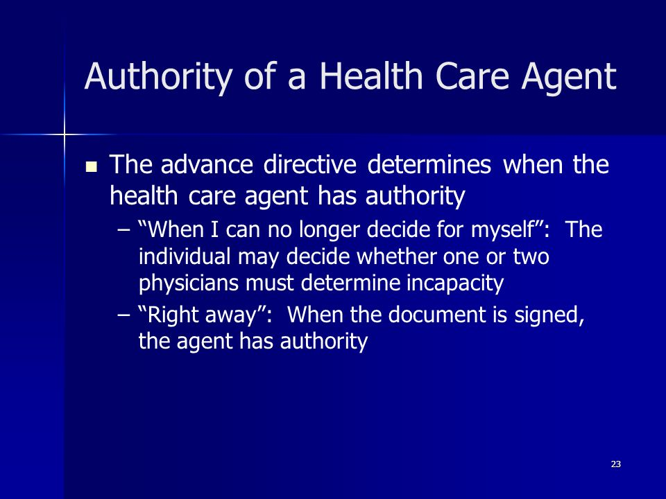 Authority of a Health Care Agent