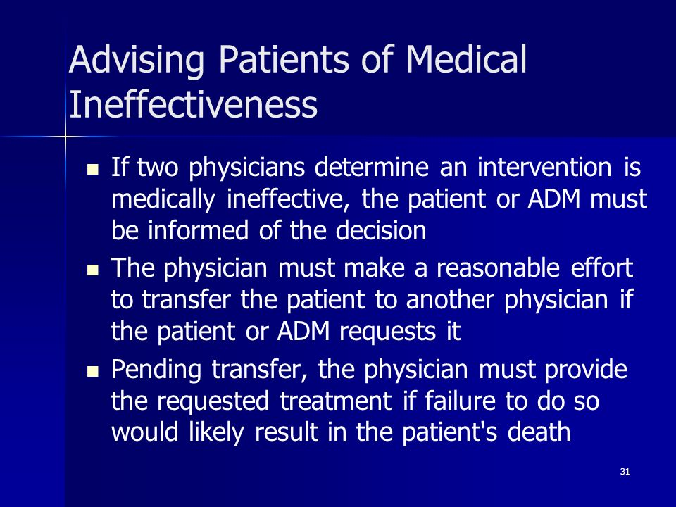 Advising Patients of Medical Ineffectiveness