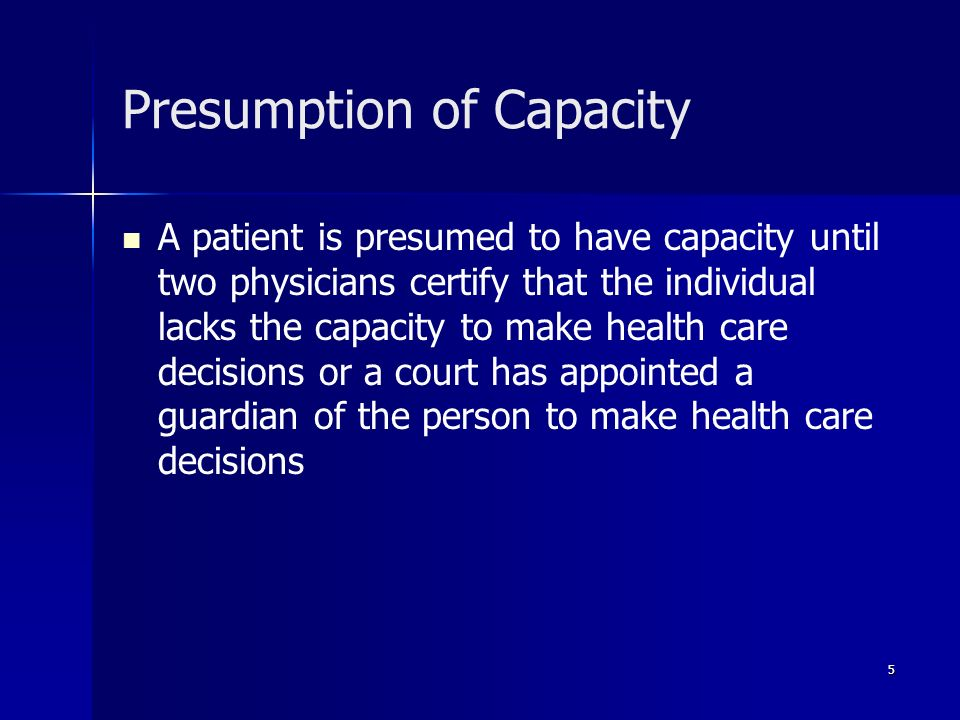 Presumption of Capacity