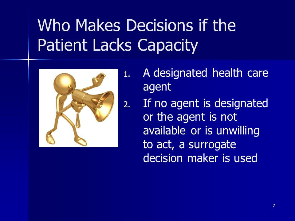 Who Makes Decisions if the Patient Lacks Capacity