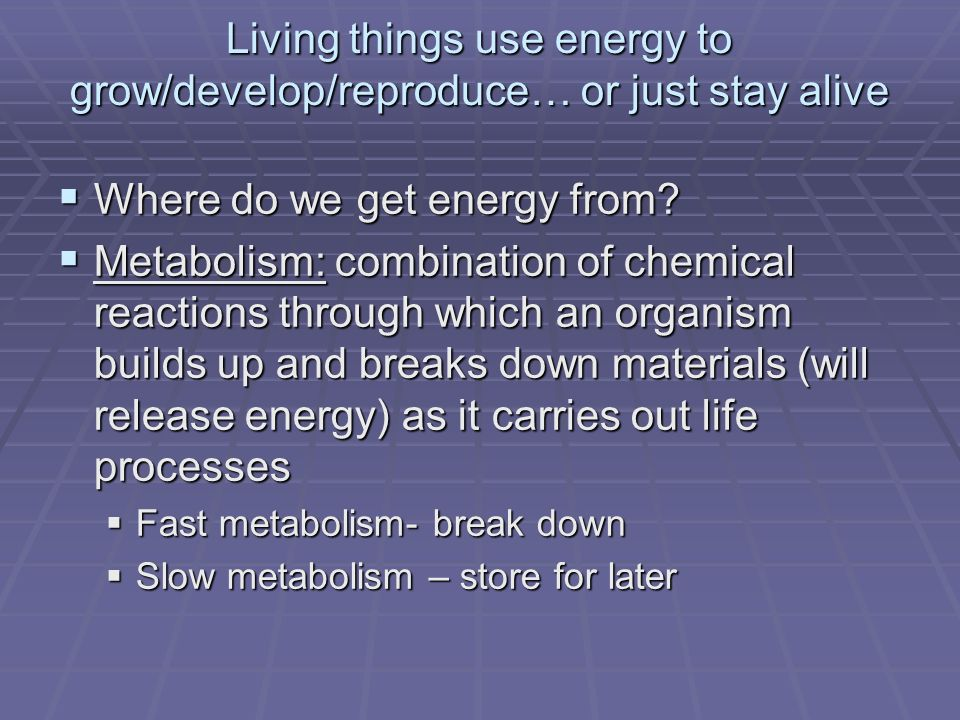 Living things use energy to grow/develop/reproduce… or just stay alive