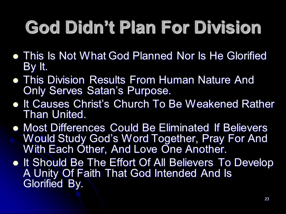God Didn't Plan For Division