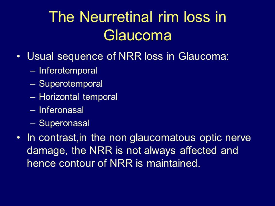 The Neurretinal rim loss in Glaucoma