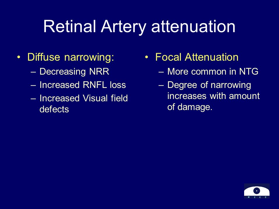 Retinal Artery attenuation