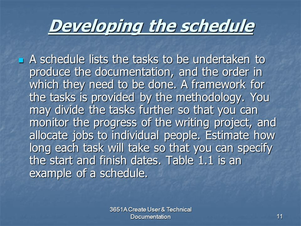 Developing the schedule