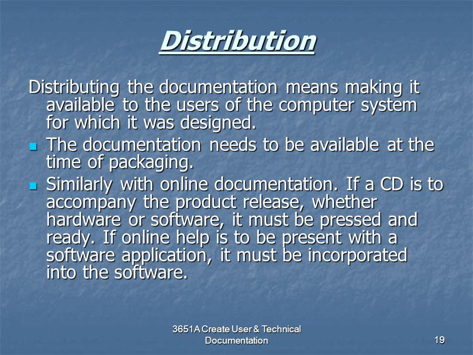 3651A Create User & Technical Documentation