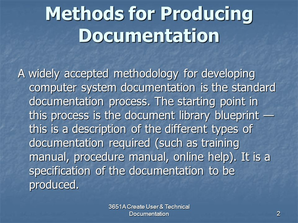 Methods for Producing Documentation