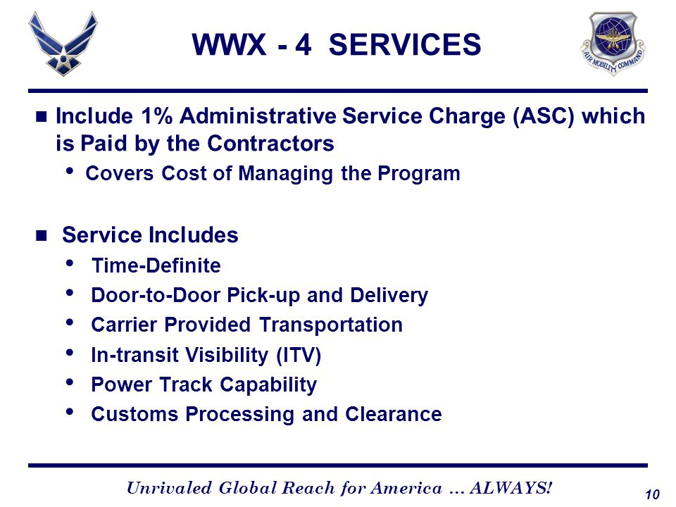 WWX - 4 SERVICES Include 1% Administrative Service Charge (ASC) which is Paid by the Contractors. Covers Cost of Managing the Program.
