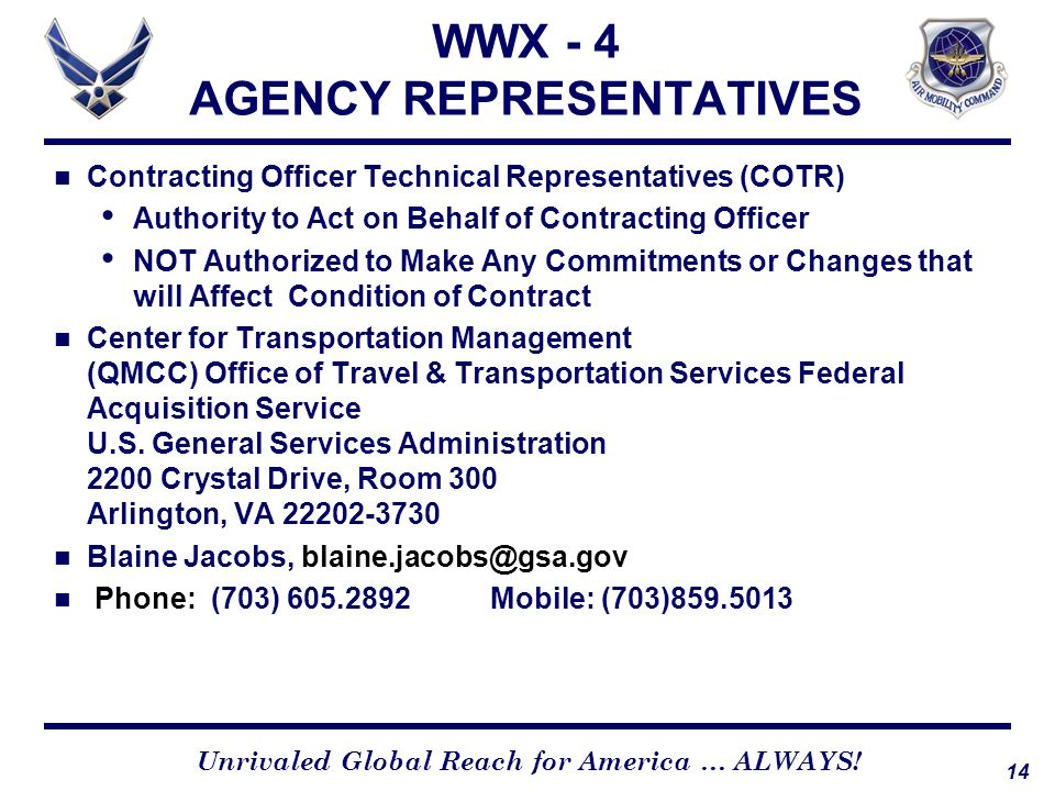 WWX - 4 AGENCY REPRESENTATIVES