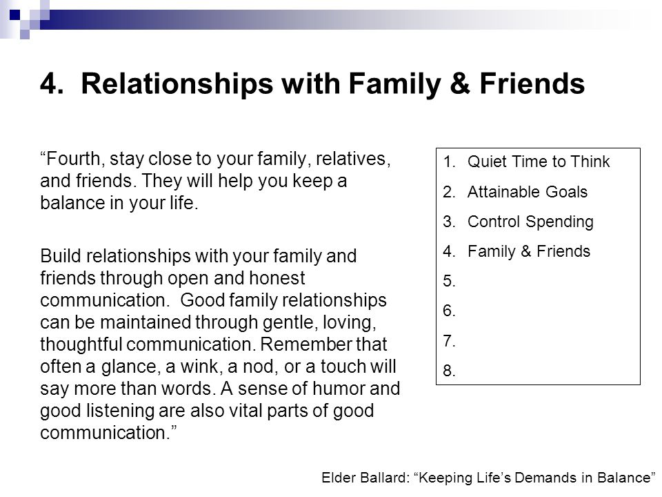 4. Relationships with Family & Friends
