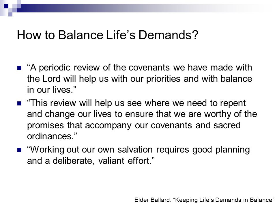 How to Balance Life's Demands