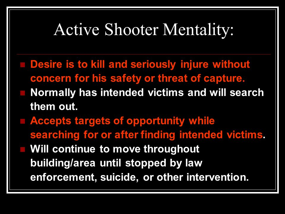 Active Shooter Mentality: