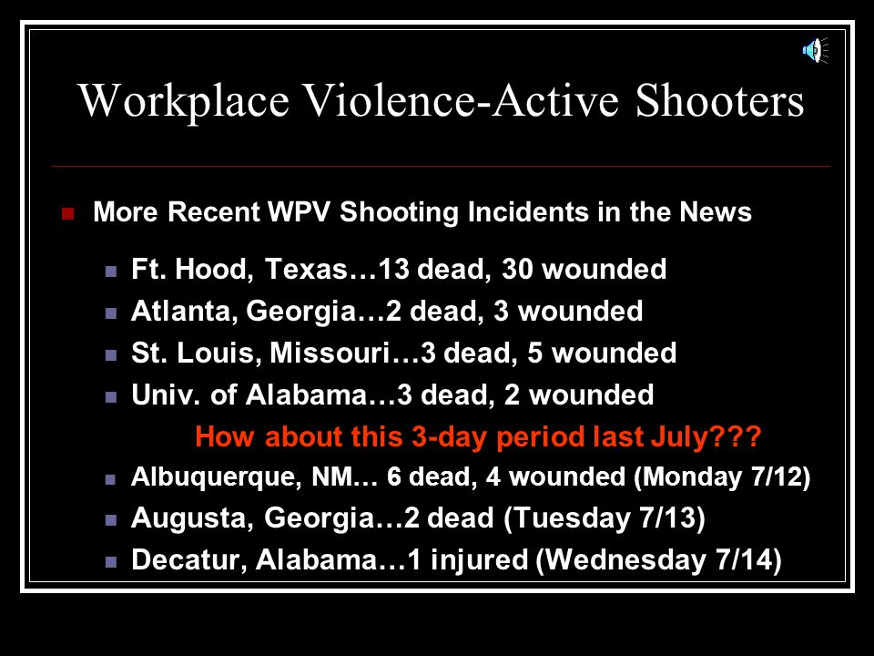 Workplace Violence-Active Shooters