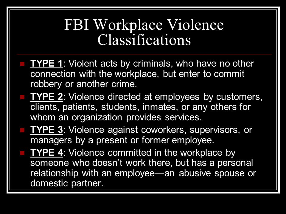 FBI Workplace Violence Classifications