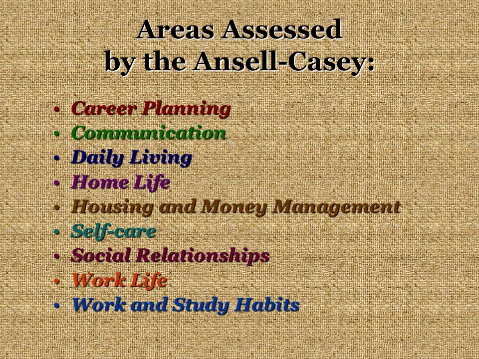 Areas Assessed by the Ansell-Casey: