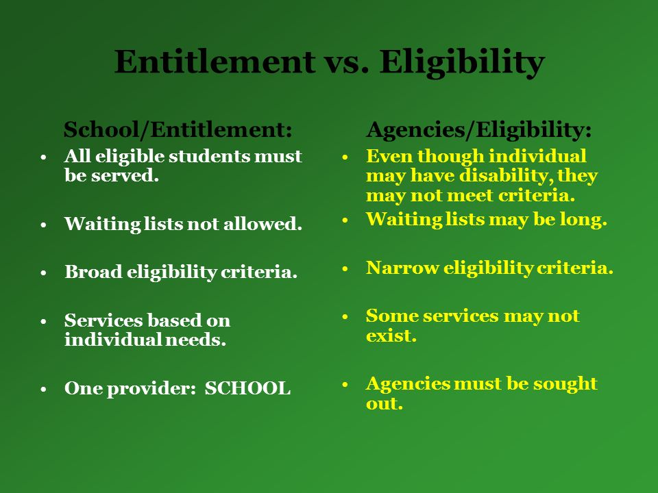 Entitlement vs. Eligibility