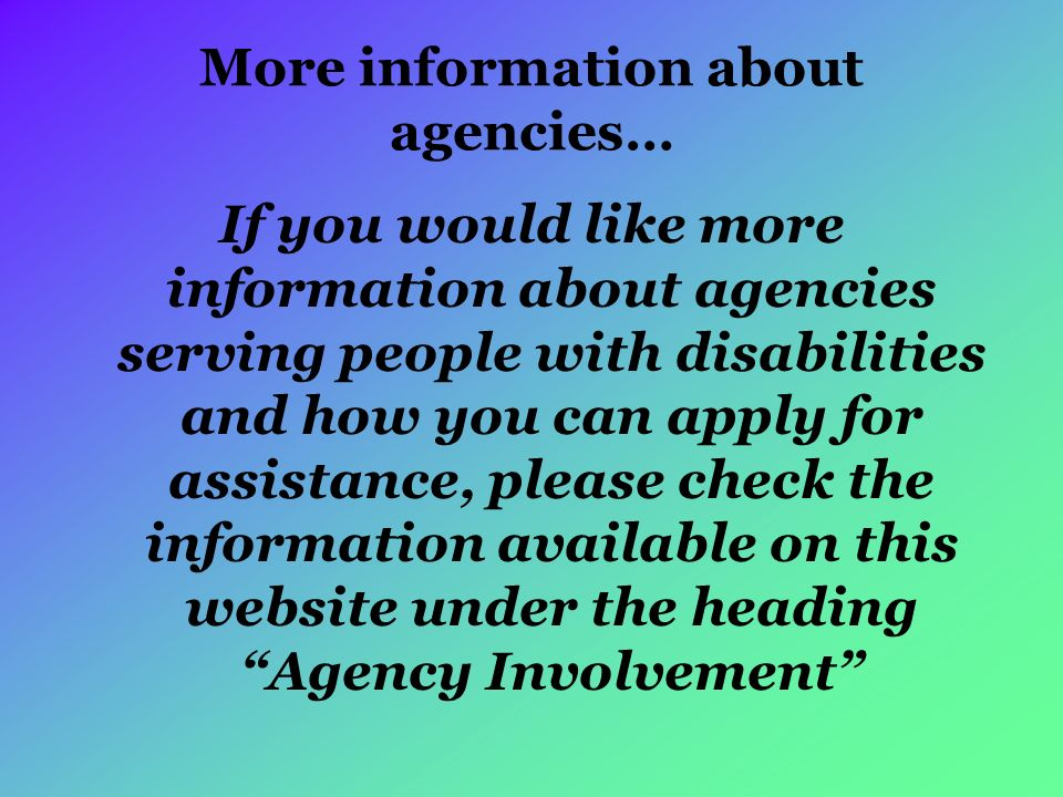 More information about agencies…