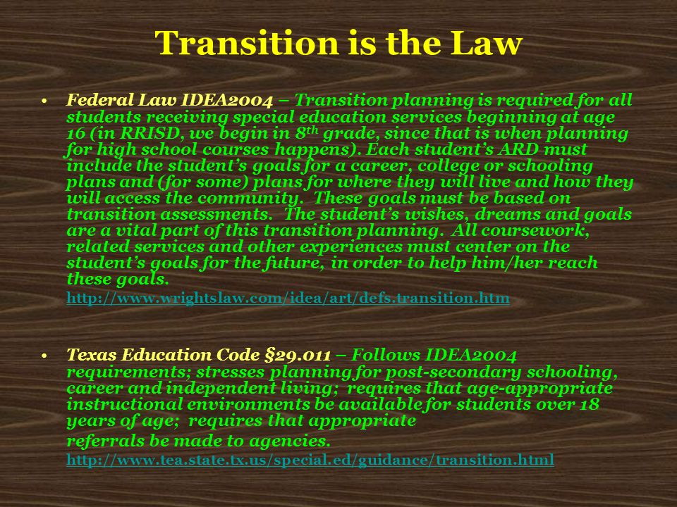 Transition is the Law