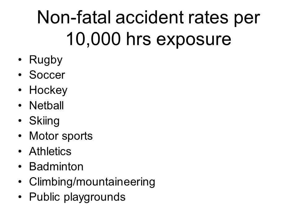 Non-fatal accident rates per 10,000 hrs exposure