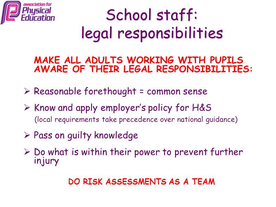 School staff: legal responsibilities