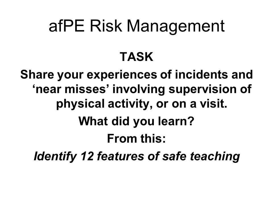 Identify 12 features of safe teaching