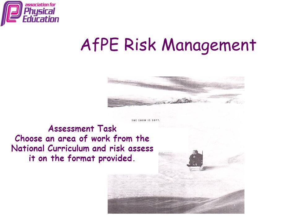 AfPE Risk Management Assessment Task