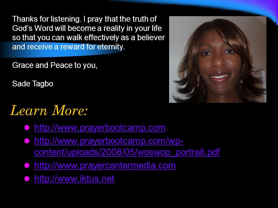 Learn More: http://www.prayerbootcamp.com