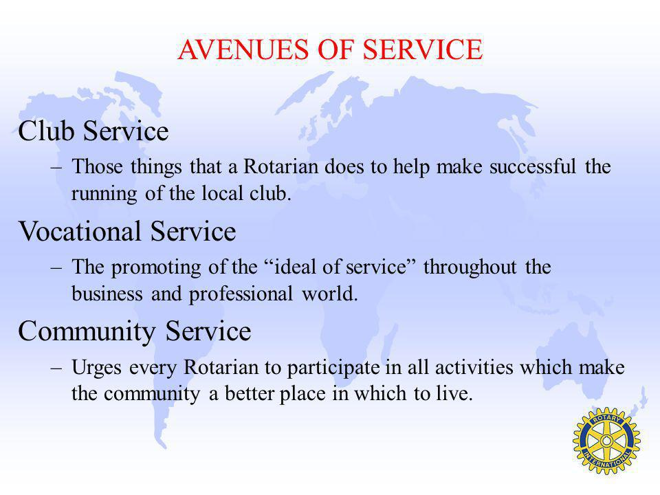 AVENUES OF SERVICE Club Service Vocational Service Community Service