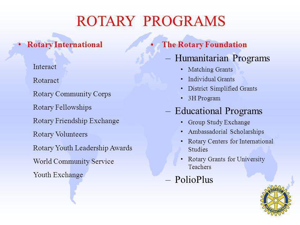 ROTARY PROGRAMS Humanitarian Programs Educational Programs PolioPlus