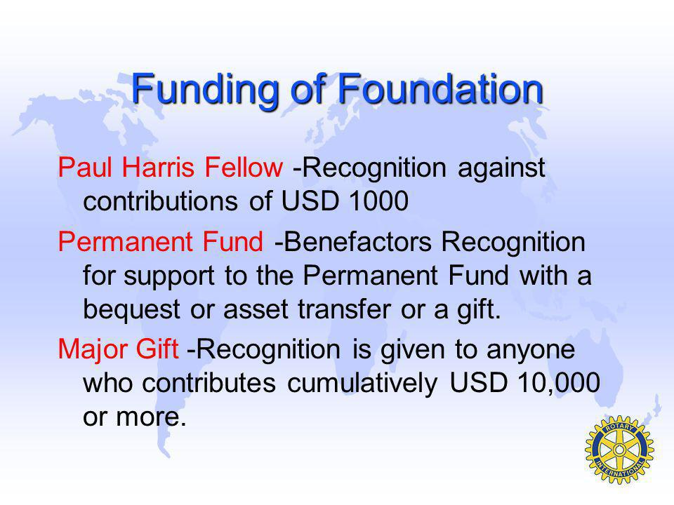 Funding of Foundation Paul Harris Fellow -Recognition against contributions of USD 1000.