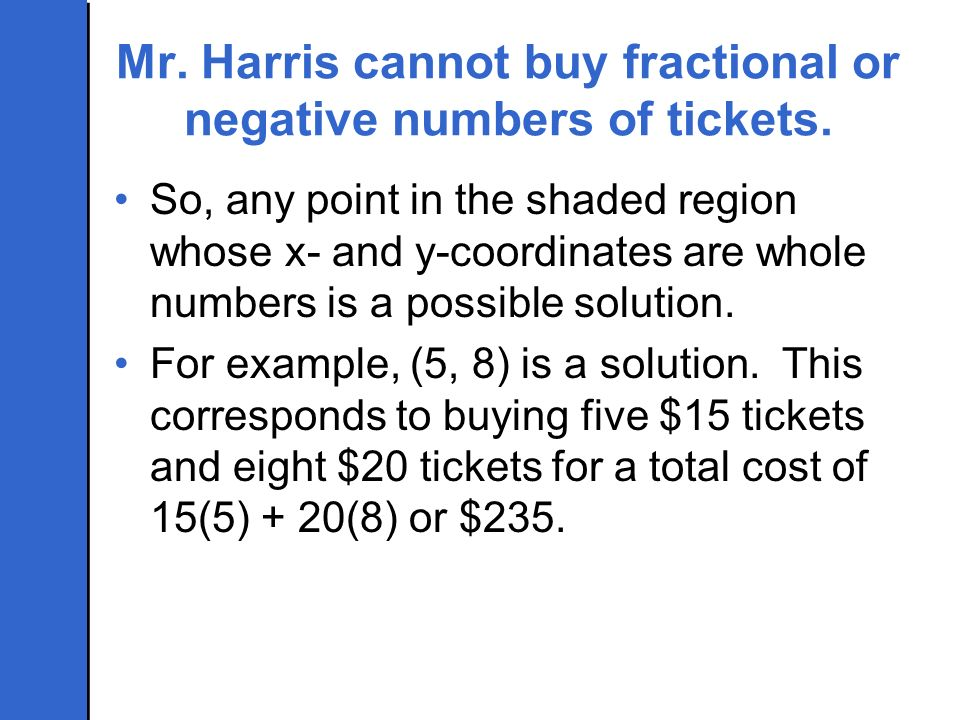 Mr. Harris cannot buy fractional or negative numbers of tickets.