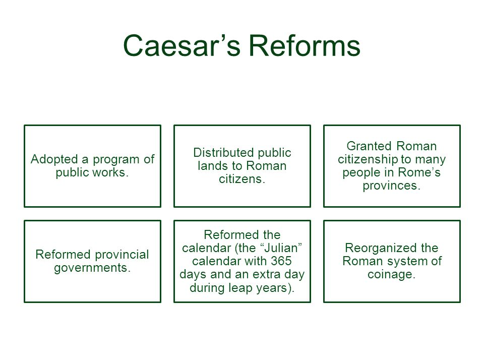Caesar's Reforms Adopted a program of public works.