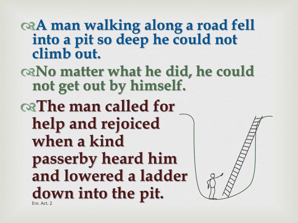 A man walking along a road fell into a pit so deep he could not climb out.