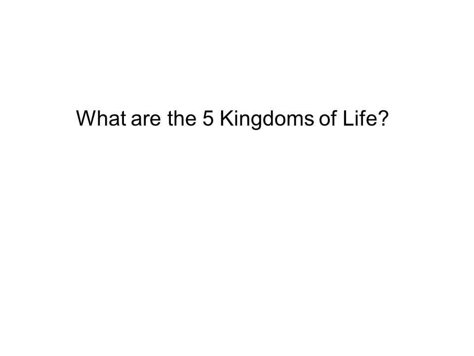 What are the 5 Kingdoms of Life