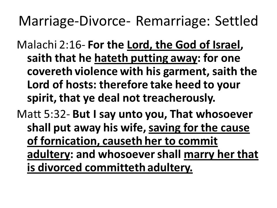 Marriage-Divorce- Remarriage: Settled