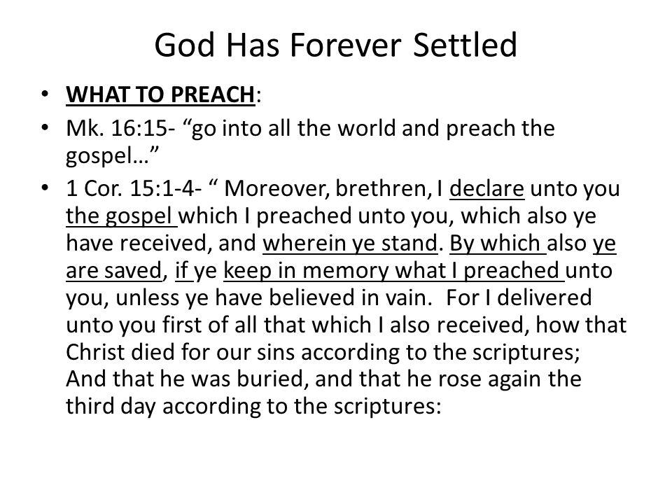 God Has Forever Settled