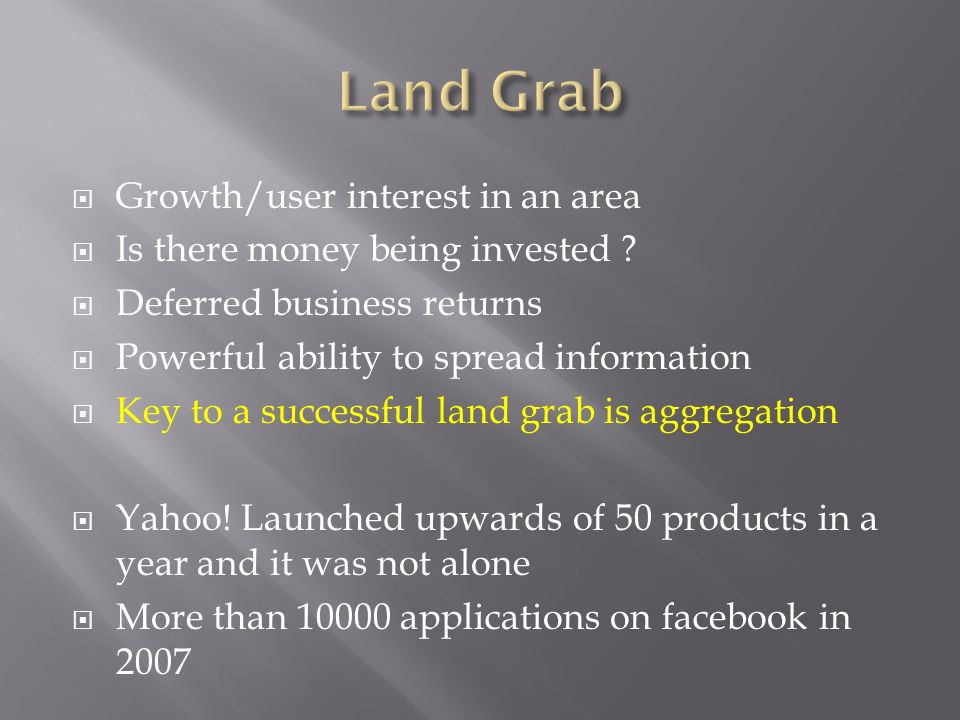 Land Grab Growth/user interest in an area