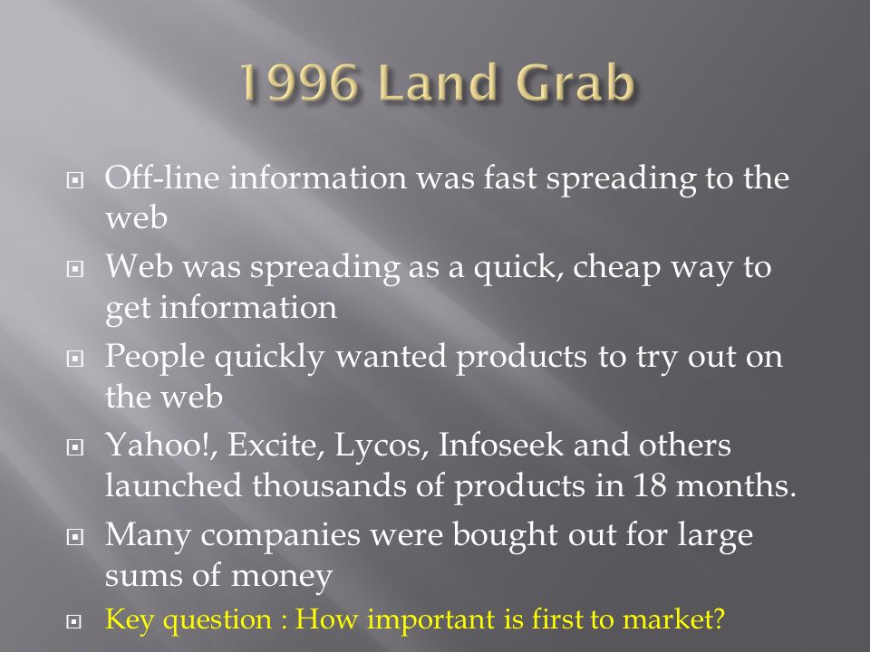 1996 Land Grab Off-line information was fast spreading to the web