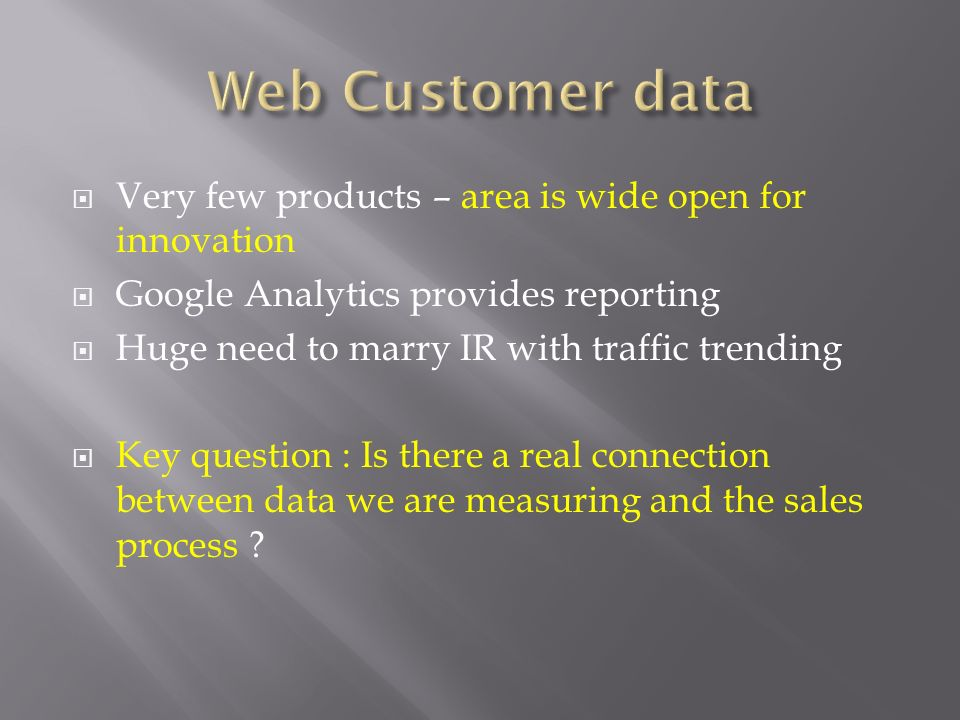 Web Customer data Very few products – area is wide open for innovation